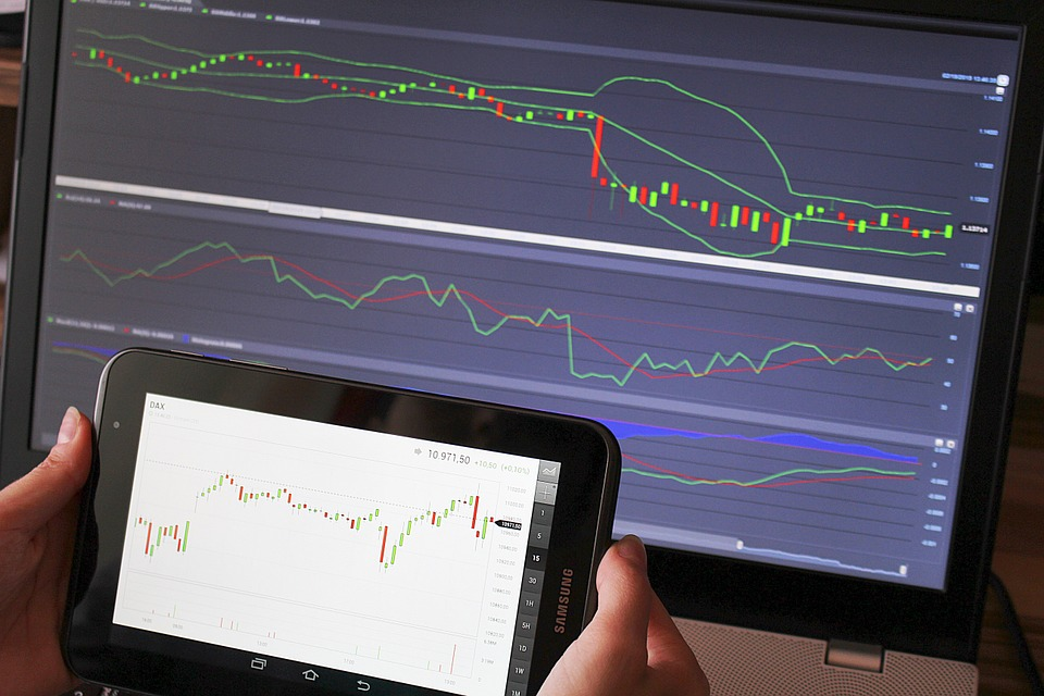 trading charts on ipad and computer screen